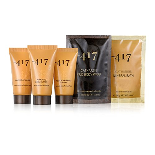 -417 Dead Sea Cosmetics Hand Moisturizer + Foot Nourishing Cream + Aromatic Body Butter + Mud Body Mask + Mineral Salt Bath - Travel Kit