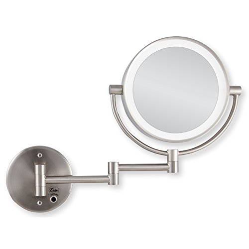 Zadro Satin Nickel Cordless Led Lighted Wall Mount Mirror