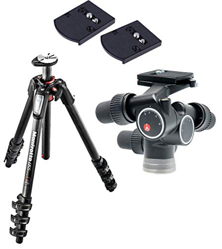 Manfrotto MT055CXPRO4 055 Carbon Fibre 4-Section Tripod, with Horizontal Column with 405 Pro Digital Geared Head and 2 Quick Release Adapter (Manfrotto 055cxpro4 Carbon Fiber)