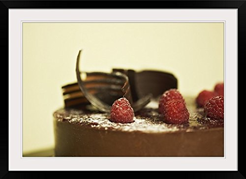 greatBIGcanvas Chocolate Ganache Cake with Raspberries & Chocolate Shavings Photographic Print with Black Frame, 36