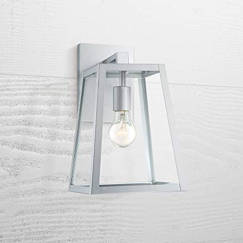 """Arrington Modern Outdoor Wall Light Fixture Sleek Silver Steel 13"""" Clear Glass for Exterior House Porch Patio Deck - John Timberland"""