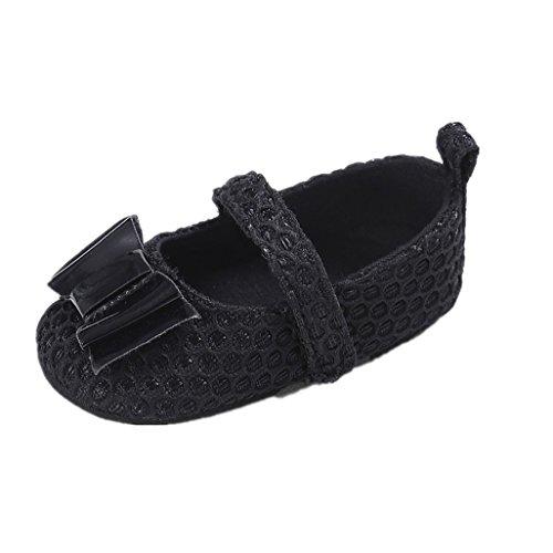 Zapatos de bebé Auxma Zapatos para niños pequeños,Zapatos lindos suaves del algodón del Bowknot de la niña Para 0-18 mes Negro