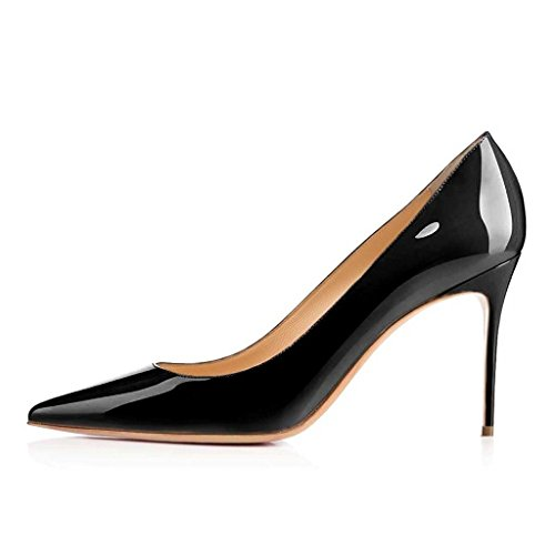 EDEFS Womens Pointed Toe High Heel Court Shoes 80mm Pumps Office Party Dress Shoes Black 1sSRNlJkD