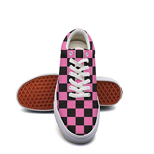 fvnoui LadyBlack Pink Checkered Squares Canvas Shoes Low-Cut Straps Funky Sneakers Suitable for Walking]()