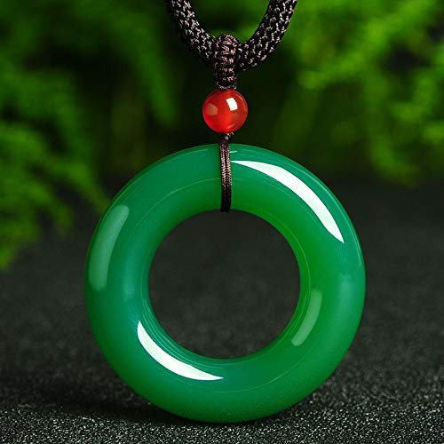 Natural Green Agate Doughnut Pendant Chalcedony Circle Peace Buckle Pendant Necklace Gift for Women Crystal Jewelry Free Rope ()