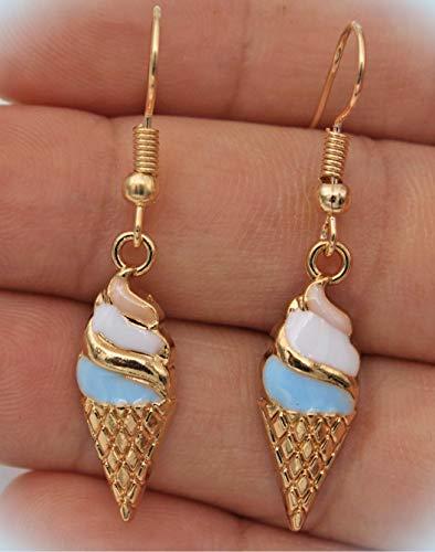 Cute Fun New Gold & Enamel Ice Cream Cone Charm Dangle Drop Earrings For Women Lady ()