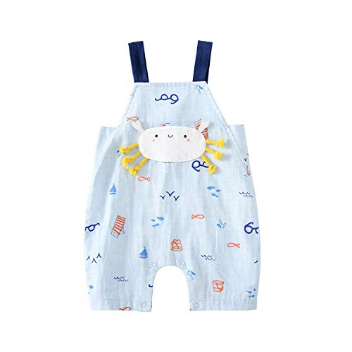 - pureborn Baby Boy Girl Cartoon Overalls Summer Cotton Jumpsuits Romper Pants Outfits Blue Crab 1-2 Years