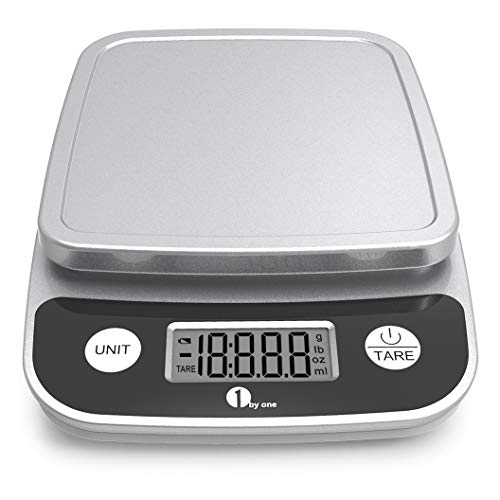 1byone Digital Kitchen Scale Precise Cooking Scale and Baking Scale, Multifunction with Range From 0.04oz (1g) to 11lbs, Elegant Black (Renewed)