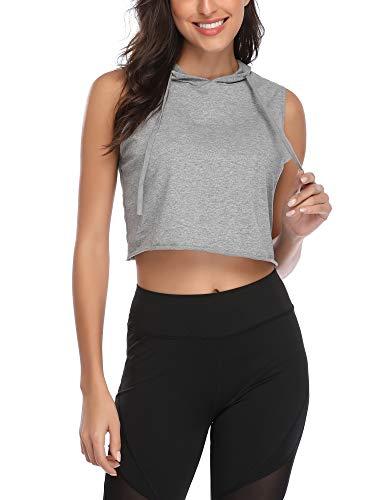 DIRASS Women's Sleeveless Casual Summer Loose Active Hooded Crop Tank Top(Grey,M) ()