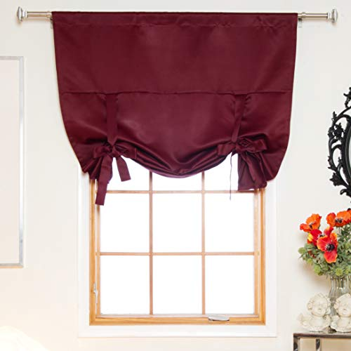 Burgundy Rod Pocket Thermal Insulated Blackout Tie Up Shade Curtain, 46 Inch Wide by 64 Inch Long Panel