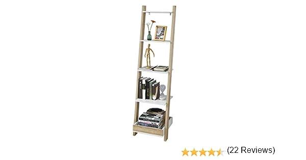 SoBuy® frg229-wn, Escalera Estante Estante de Pared estantería de Almacenamiento Pantalla estantería con 4 estantes y 1 Bandeja: Amazon.es: Hogar