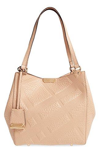 Burberry Canterbury Signature Check Embossed Leather Tote Handbag Bag New