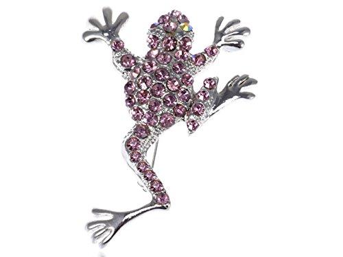 Alilang Vintage Inspired Reproduction Amethyst Crystal Rhinestone Jumping Frog Fashion Pin Brooch