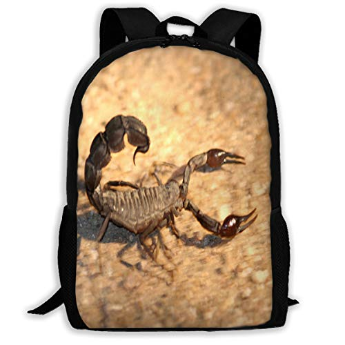 Backpack For Girls Boys Black Scorpion Zipper School Bookbag Daypack Travel Rucksack Gym Bag For Man Women