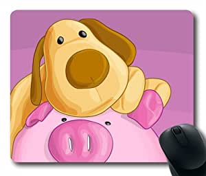 Cute Pig and Dog Oblong Shaped Pink Mouse Mat by Maris's Diary