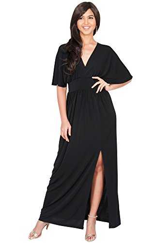 KOH KOH Plus Size Womens Long Sexy Kimono Short Sleeve Slit Wrap V-neck Gown Party Cocktail Evening Bridesmaid Wedding Guest Maxi Dress, Color Black, Size 3X Large 3XL 22-24