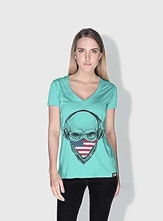 Creo Usa Skull T-Shirts For Women - M, Green