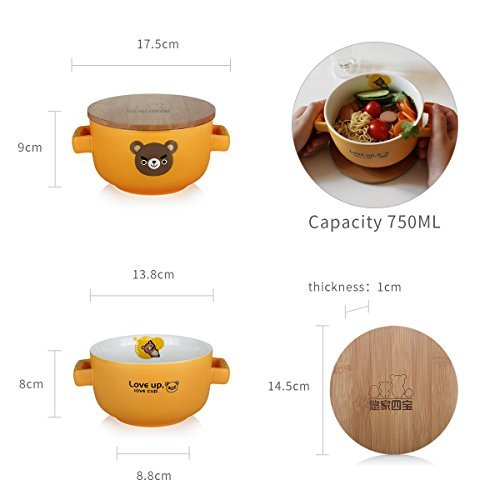 UPSTYLE Cute Cartoon Microwave Ceramic Soup Bowls Instant Noodle Bowl Cereal Serving Bowl for Salad Fruit with Bamboo Lid (Not Put in Microwave) Size 750 ml, Red