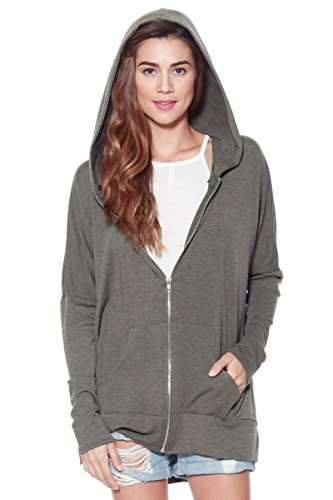 Zip Jeans Leather Back - A+D Womens Light Oversized Zip Hoodie Sweatshirt w Side Slits (Olive, Small)