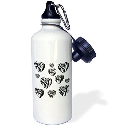 3dRose wb_29206_1 Multi Zebra Hearts Trendy Fashion Animal Print Sports Water Bottle, 21 oz, White