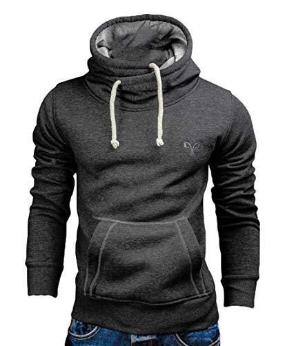 UUYUK Men Warm Casual Cowl Neck Pocket Sweatshirts Dark Gray US ()