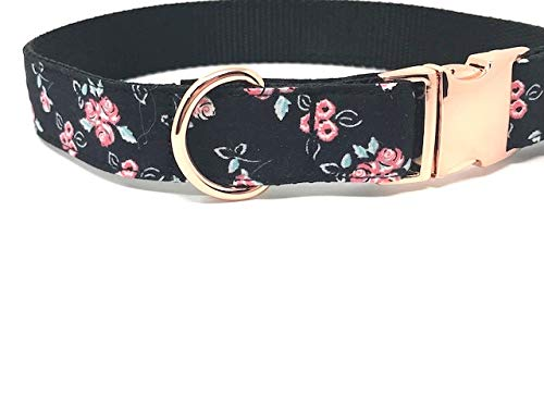 Big Pup Pet Fashion Rose Gold Dog Collar, Pink and Black Rose Dog Collar for Girls - Large