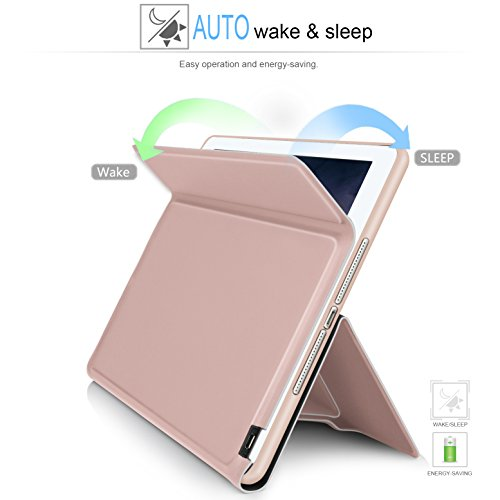 IVSO Apple iPad pro 10.5 inch Stand Case with Wireless Keyboard, Ultra-Thin Stand Cover Case for Apple iPad pro 10.5 inch 2017 Tablet (Rose Gold) by IVSO (Image #2)