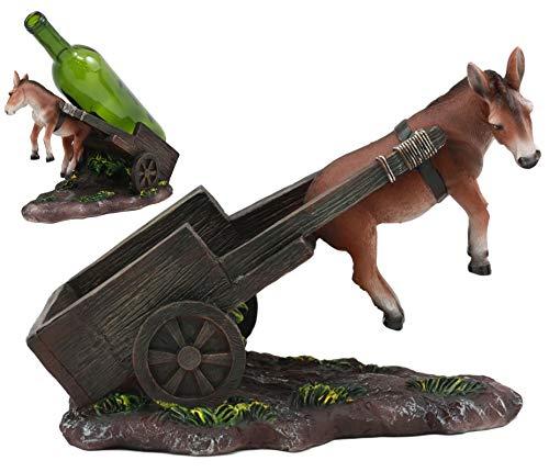 Ebros Helpless Moonshine Mule Pulling A Cart Wine Bottle Holder Caddy Figurine 10