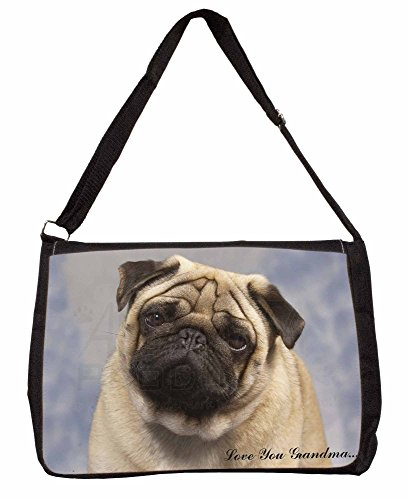 Fawn Pug Dog Love You Grandma Large 16 Black School Laptop Shoulder Bag bHEW9Yjr
