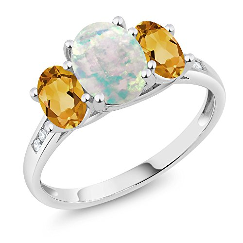10K White Gold Diamond Accent Cabochon White Simulated Opal Yellow Citrine 3-Stone Ring 1.85 Ct, Available in size (5,6,7,8,9)
