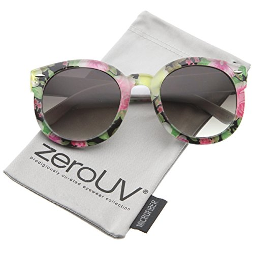 zeroUV - Women's Fashion Floral Printed Gradient Lens Oversized Round Sunglasses 53mm (Black-Yellow-Pink / - Farrow Linda Frames