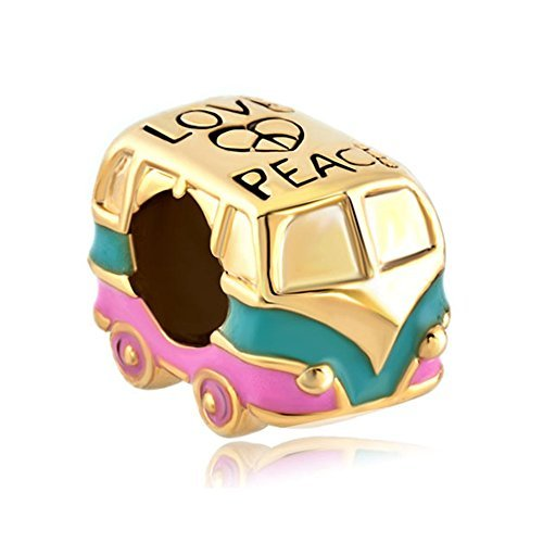 Q&Locket European Heart Charm Bracelet Love Peace Antique Bus For Bracelet