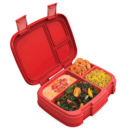Bentgo Fresh (Red) - New & Improved Leak-Proof, Versatile 4-Compartment Bento-Style Lunch Box - Ideal for Portion-Control and Balanced Eating On-The-Go - BPA-Free and Food-Safe Materials (Red Lunch Box)