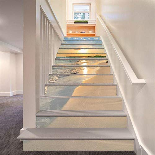 FLFK 13PCS/Set 3D Sunrise Ocean Beach Self-Adhesive Stair Risers Stickers Vinyl Staircase Stickers Stairway Decal Wallpaper 39.3Inch x7.08Inch by FLFK (Image #3)