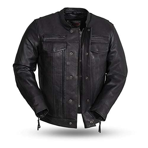 Mens Motorcycle Double Front Pistol Pete Top Quality Cow Hide leather jacket CE Armors pockets -