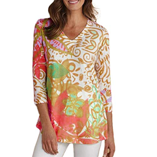 Sunhusing Ladies Large Size Retro Fresh Small Floral Print V-Neck Sleeves Shirt Casual Daily T-Shirt Blouse Orange