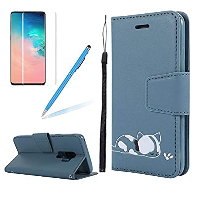 Strap Leather Case for Samsung S9 Plus,Folio Flip Wallet Case for Samsung S9 Plus [Blue Solid Color],Girlyard Stylish Cute 3D Embossed Cat Pattern with Card Slots Magnetic Fold Stand Phone Cover: Electronics