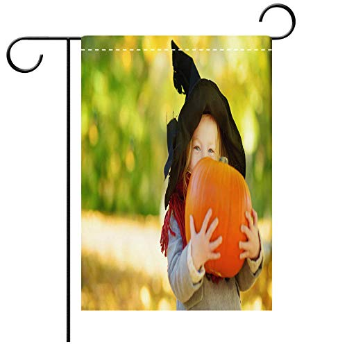 BEICICI Double Sided Premium Garden Flag Adorable Little Girl Wearing Halloween Costume Having Fun on a Pumpkin Patch on Autumn Day Best for Party Yard and Home Outdoor Decor -