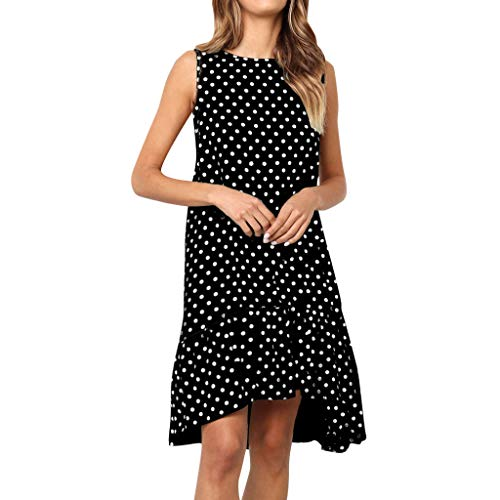 【MOHOLL】 Womens Dresses Sleeveless Polka Dot Ruffle Casual Summer Beach Loose Short Tank Dress with Pockets Black