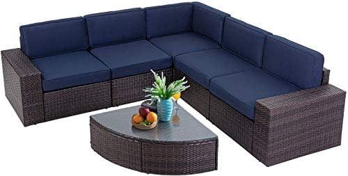 Oakmont Outdoor Patio 6-Piece Furniture Set Durable Frame Premium Rattan Wicker Sectional Sofa