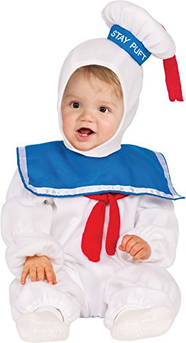 Marshmallow Halloween Costumes (Rubie's Baby Classic Ghostbusters Ez-on Stay Puft Romper Costume, White, Toddler 3T-4T)