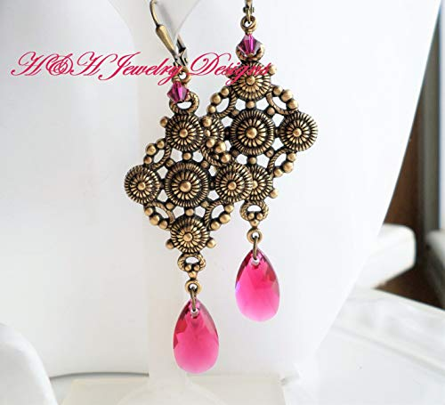 Nouveau Brass Chandelier - Ruby Crystal Antique Brass Nouveau Victorian Chandelier Statement Earrings
