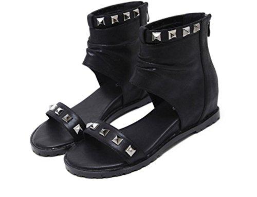 SHFANG Sandalias de las señoras Poe del verano Roma Remache Botas frescas Dew Toe Estudiantes Compras de la escuela Dos colores los 5cm Black