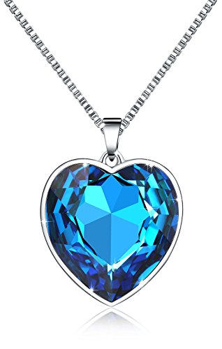 M-Tree Womens Heart Pendant Necklace - Pretty Cute Love Necklaces with Nice Crystal Color Blue