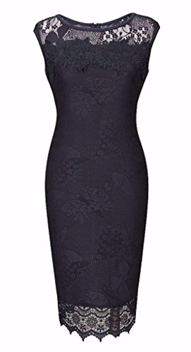 Jiu du Women's Lace Dresses Slim Evening Sleeveless Floral Butterfly Cocktail Dress for Special Occasions Black Size 3XL