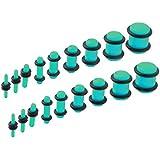 BodyJ4You 18PCS Plugs Stretching Kit 14G-00G Turquoise Color Ear Gauges Set Acrylic Double O-Ring Expanders