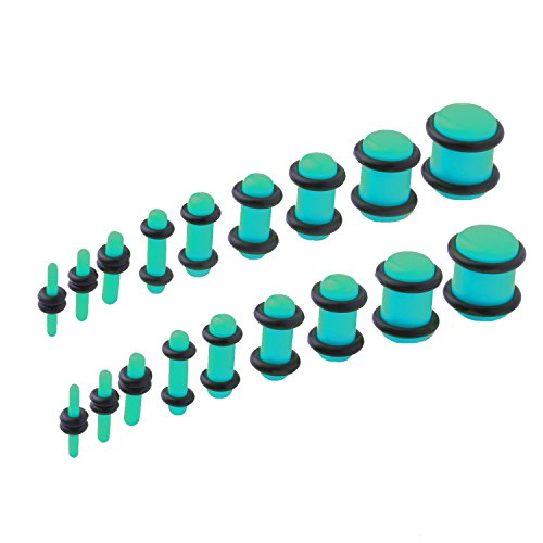 Expander Set - BodyJ4You 18PCS Plugs Stretching Kit 14G-00G Turquoise Color Ear Gauges Set Acrylic Double O-Ring Expanders