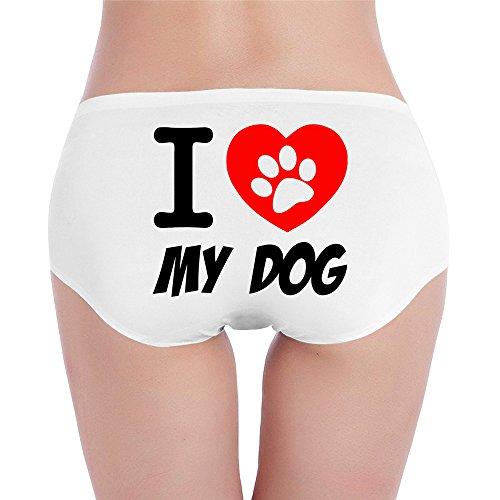 PCY Women's Low-Waist Sporty I Love My Dog Footprint Bikini Underwear White M