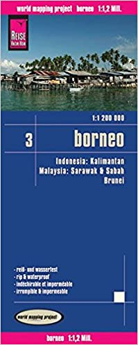 Indonesia 3: Borneo, mapa de carreteras impermeable. Escala 1 ...