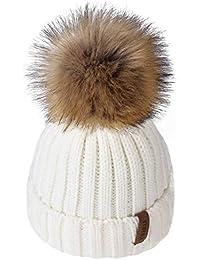 Kids Winter Knitted Pom Beanie Bobble Hat Cotton Lined Faux Fur Ball Pom Pom Cap Unisex Kids Beanie Hat…